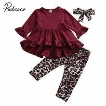 Г. Весенне-осенняя одежда для малышей Одежда для маленьких девочек яркое платье-топ с длинными рукавами штаны с леопардовым принтом повязка на голову, комплект из 3 предметов, От 1 до 6 лет