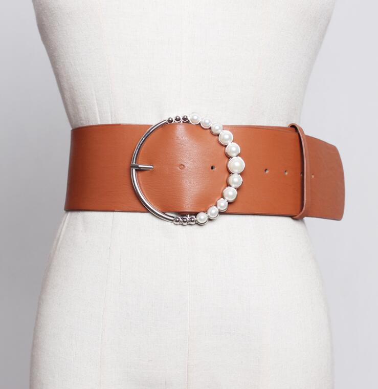 Women's Runway Fashion Pearl Buckle PU Leather Cummerbunds Female Dress Coat Corsets Waistband Belts Decoration Wide Belt R1796