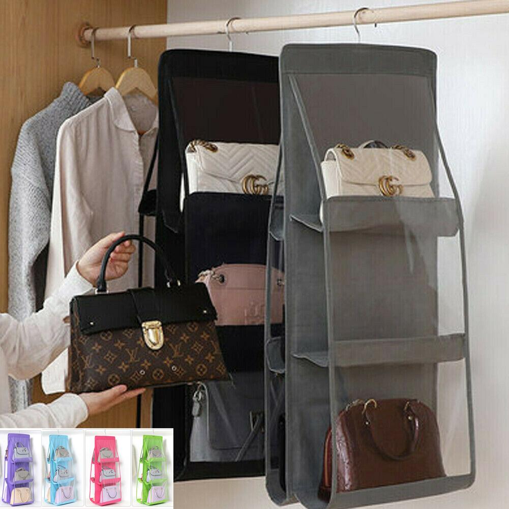 Haa6ca675f1d3492088567dd17a26c8487 - 6 Pocket Foldable Hanging Bag 3 Layers Folding Shelf Bag Purse Handbag Organizer Door Sundry Pocket Hanger Storage Closet Hanger