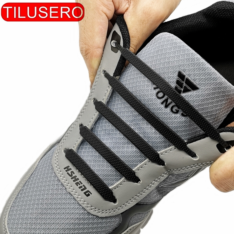 High Quality Safety Silicone Shoelaces No Tie Shoelaces Fashion Unisex Athletic Elastic Silicone Shoe Lace All Sneakers Fit