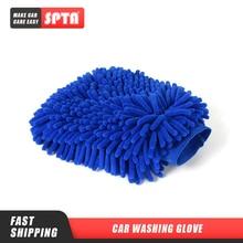 SPTA Ultimate rękawica do mycia samochodu duży rozmiar Ultra miękka mikrofibra czyszczenie samochodu rękawica do mycia dwustronnie Chenille Scratch rękawiczki