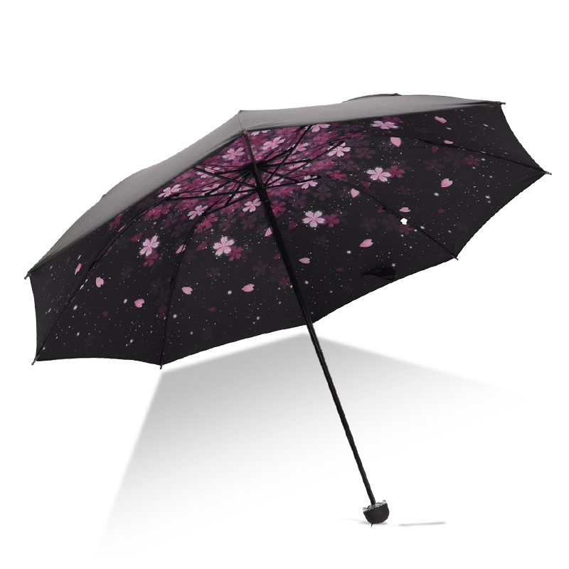 Three Fold Reverse Umbrella Customizable Printed Logo Black Umbrella Folding Sun-resistant College Style Parasol All-Weather Umb
