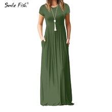 Летнее Длинное Платье Макси, женское богемное длинное платье размера плюс, Повседневное платье с карманами, новое однотонное платье с коротким рукавом и круглым вырезом, S-2XL GV598