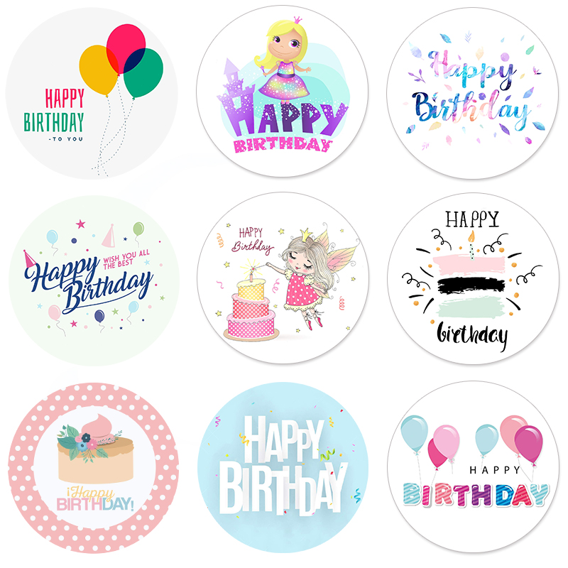 Happy Birthday Round Seal Sticker Paper Adhesive Stickers Tape Label For Homemade Bakery Gift Packaging Scrapbooking Kids Party