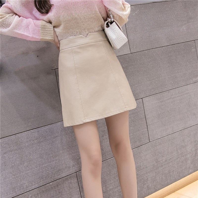 Women Simple Solid Pu Leather Mini Skirts Office Lady A-Line Skirts Empire Elegant Concise High Waist Short Skirts