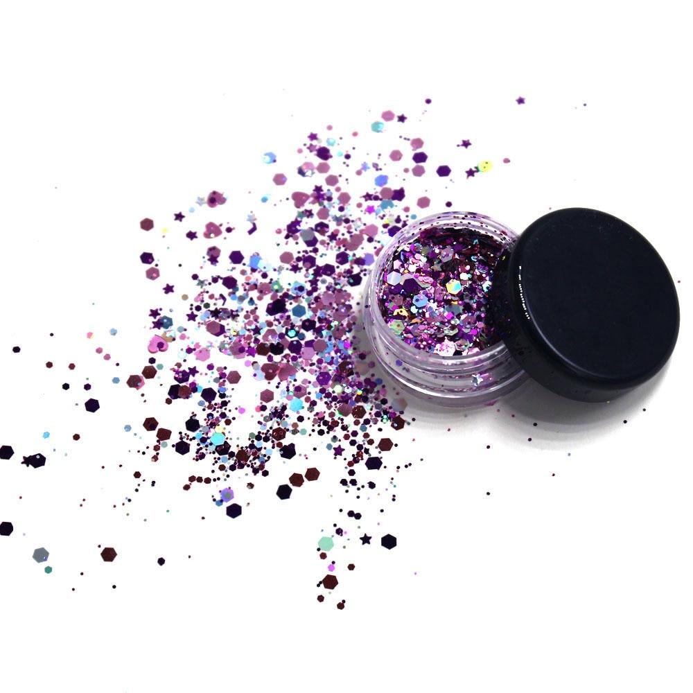 Laser Sequin Glitter Makeup Shining Colorful Face Eyes Breast Lip Nail Art Body Hair Glitter Flash Shimmer Powder Festival Decor