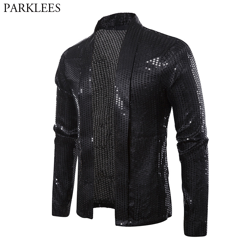 Black Sequins Street Cardigan Blazer Men Disco Dancer Club Party Blazer Jacket Male Casual Hip Hop Swag Clothes For Hipster Men