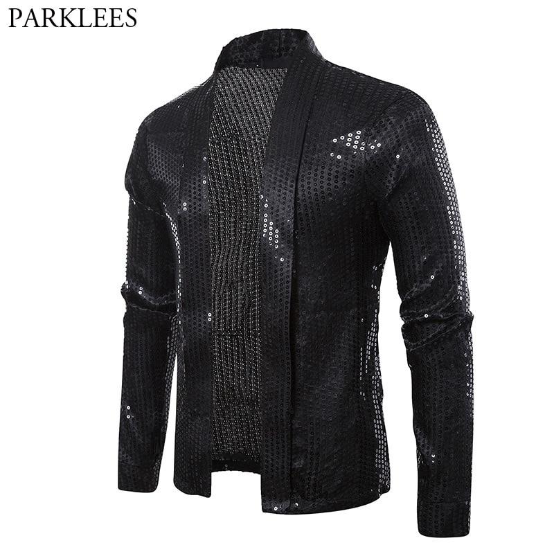 Black Sequins Street Cardigan Blazer Men Disco Dancer Club Party Blazer Jacket Male Casual Hip Hop Swag Clothes For Hipster Men