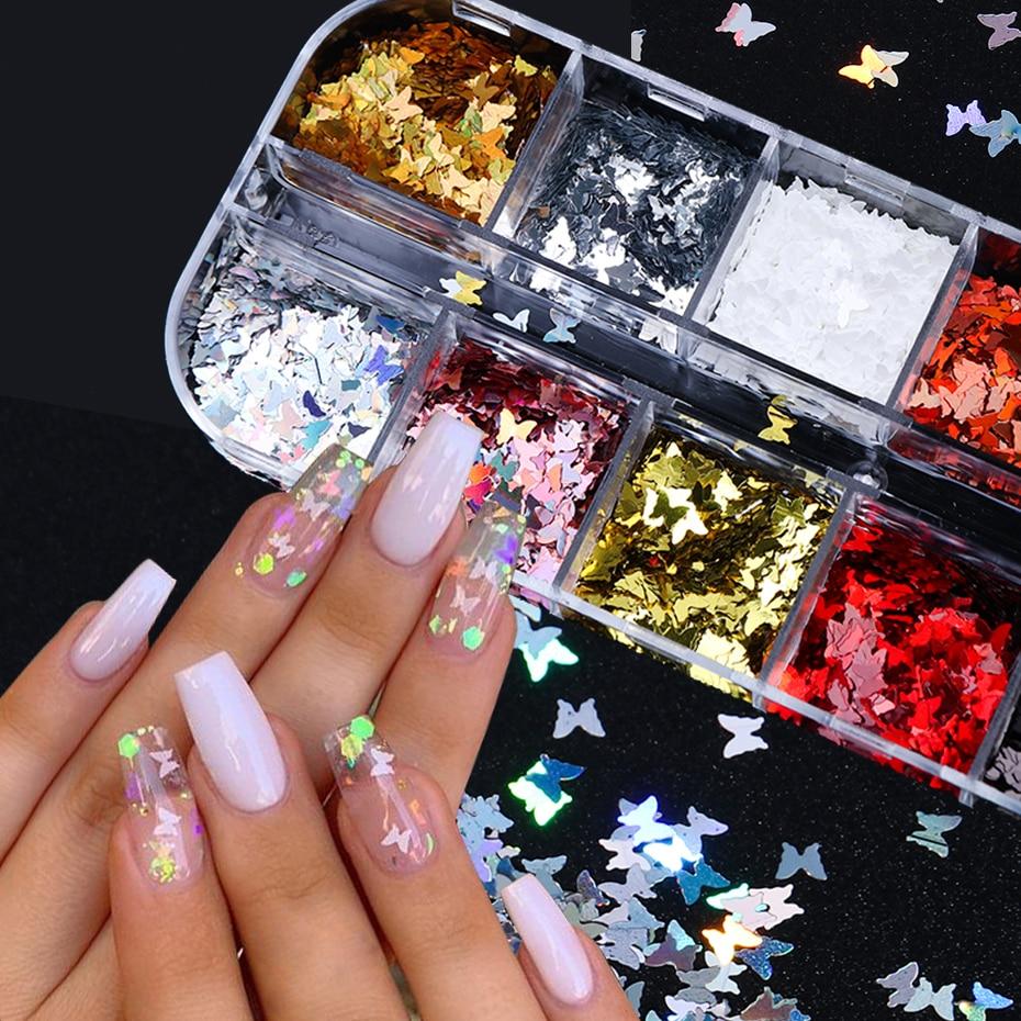 Зеркальные Блестящие бабочки для ногтей, блестки для ногтей, смешанные цвета, голографический блеск для ногтей, 3D хлопья, аксессуары для дизайна ногтей BE1558