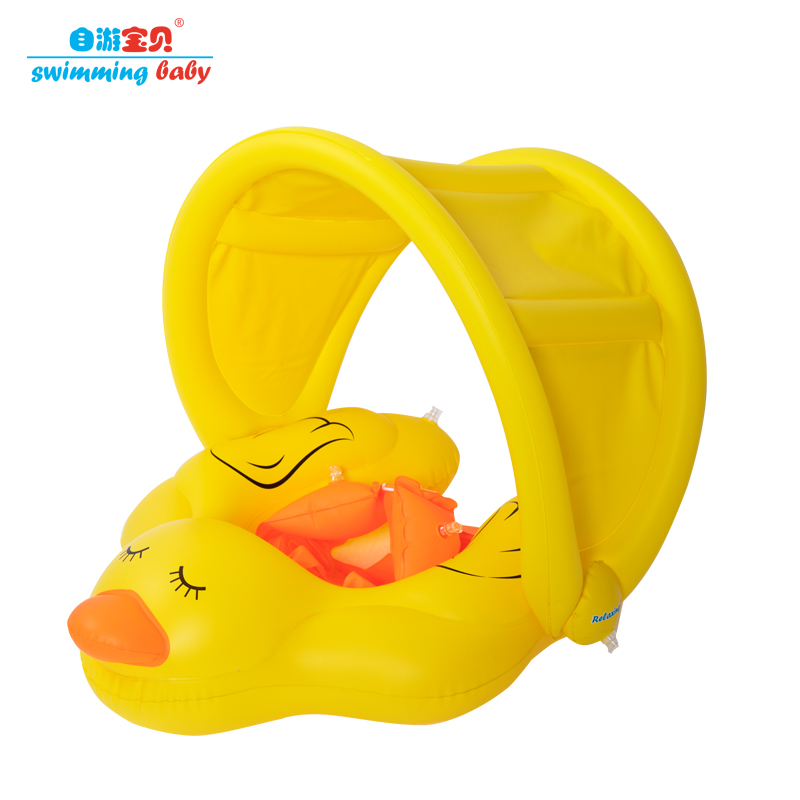 Genuine Inflatable Swimming Ring With Canopy Swimming Pool Accessories Float Water Fun Pool Toys Swim Ring Seat Boat Swimtrainer