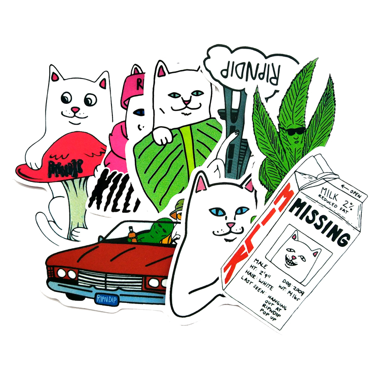 28pcs/lot Funny Ripndip Middle Finger Cat Stickers Classic Toys Laptop Skateboard Suitcase Sticker Toy For Kids
