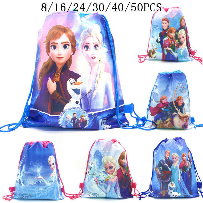 8/16/24/50PCS Disney Frozen 2 Anna Elsa Birthday Party Gifts Non-woven Drawstring Bags Kids Boy Favor Swimming School Backpacks
