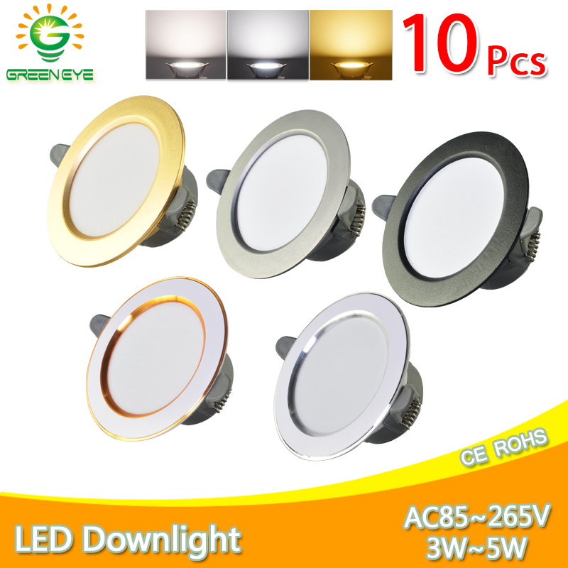 10Pcs Downlight 3w 5w spot led lights 3000k 4500K 6000K AC 220V-240V led Downlight Kitchen living room Indoor recessed lighting image