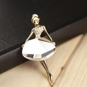 Image 3 - Broche en alliage pour femmes, 1 pièce, couleur blanche/café, ballerine pour filles, accessoires en cristal, à la mode