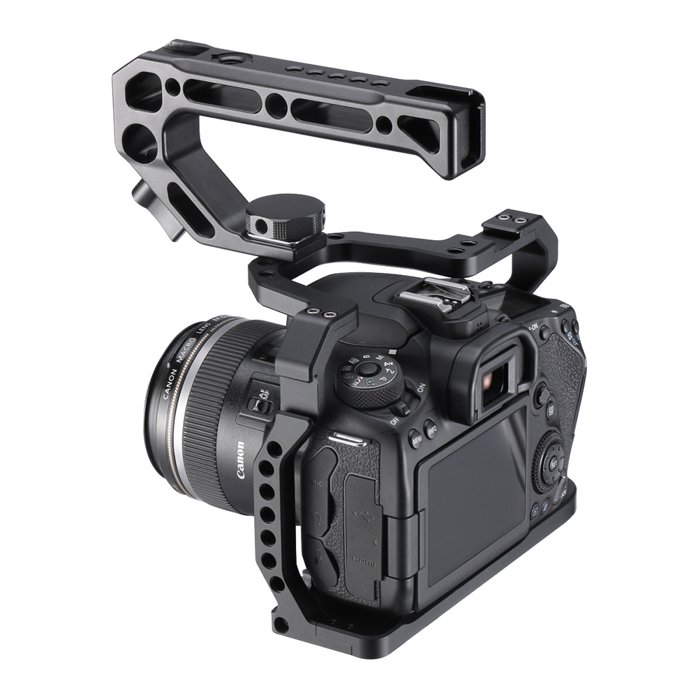 UURig Aluminium Camera Cage for Canon EOS 90D/80D/70D with Cold Shoe Mount Arri Hole 1/4 3/8 Screw To Microphone Monitor LED