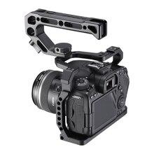 UURig الألومنيوم هيكل قفصي الشكل للكاميرا لكانون EOS 90D/80D/70D مع الحذاء البارد جبل أري هول 1/4 3/8 برغي إلى ميكروفون رصد LED