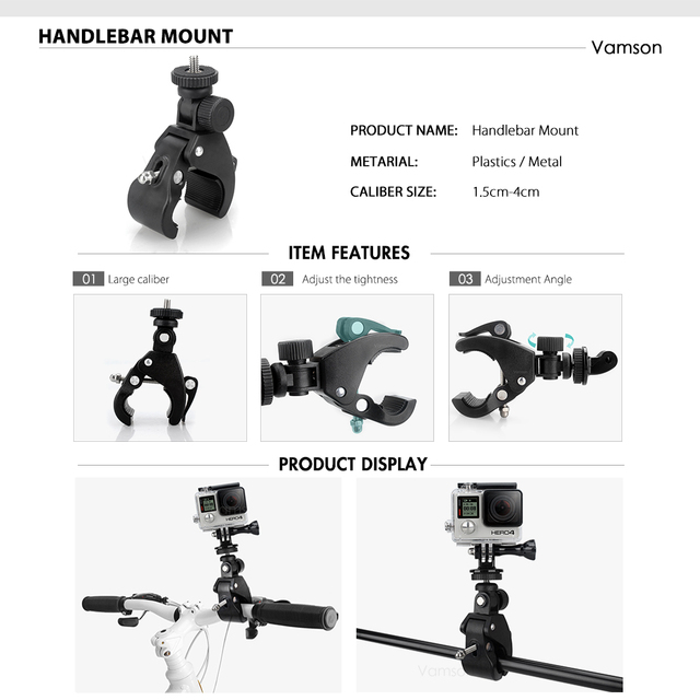 Vamson Accessories for GoPro Hero 9 8 7 6 Chest Strap Motorcycle Clamp Collection Box for Xiaomi Yi 4K for SJCAM for Eken VS153C 5