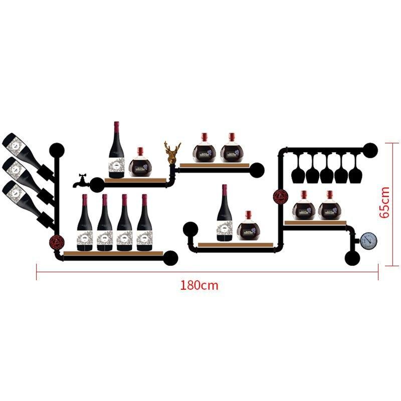 CF3 Metal & Wood Wine Rack European-style Wine Rack Wine Bottle Display Stand Rack Organizer