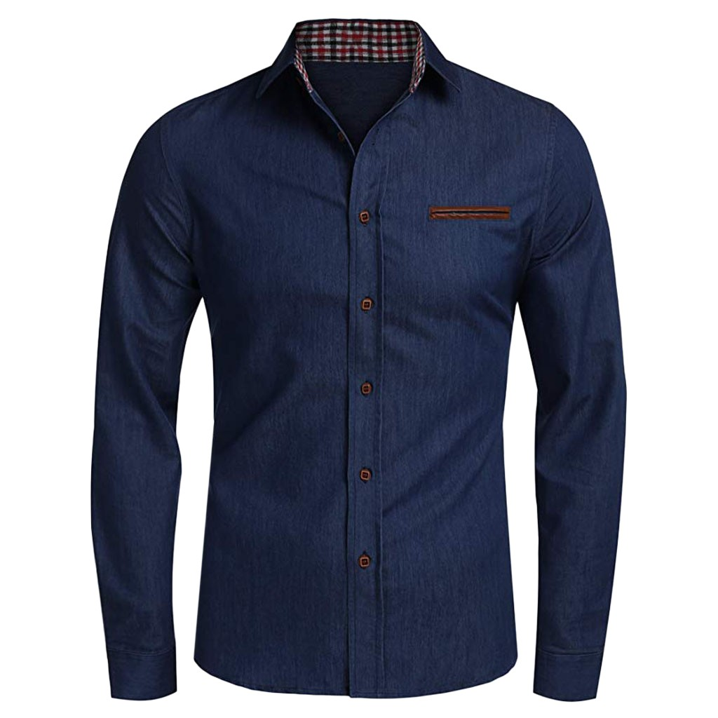Men's Shirt Casual Button Trun-down Collar Top Denim Long Sleeve Shirts Tops Blouse Chemise Homme 2020 New Fashion