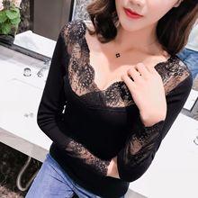 Sexy Lace Thermal Tops Women 2019 Autumn Winter Thick Warm Shaped Underwear Fashion Feminino Basic Ladies Clothing