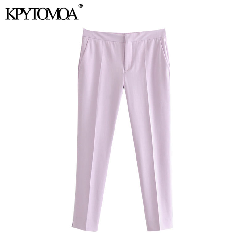 KPYTOMOA Women 2020 Chic Fashion Office Wear Pockets Skinny Pants Vintage Zipper Fly Side Vents Female Ankle Trousers Pantalones