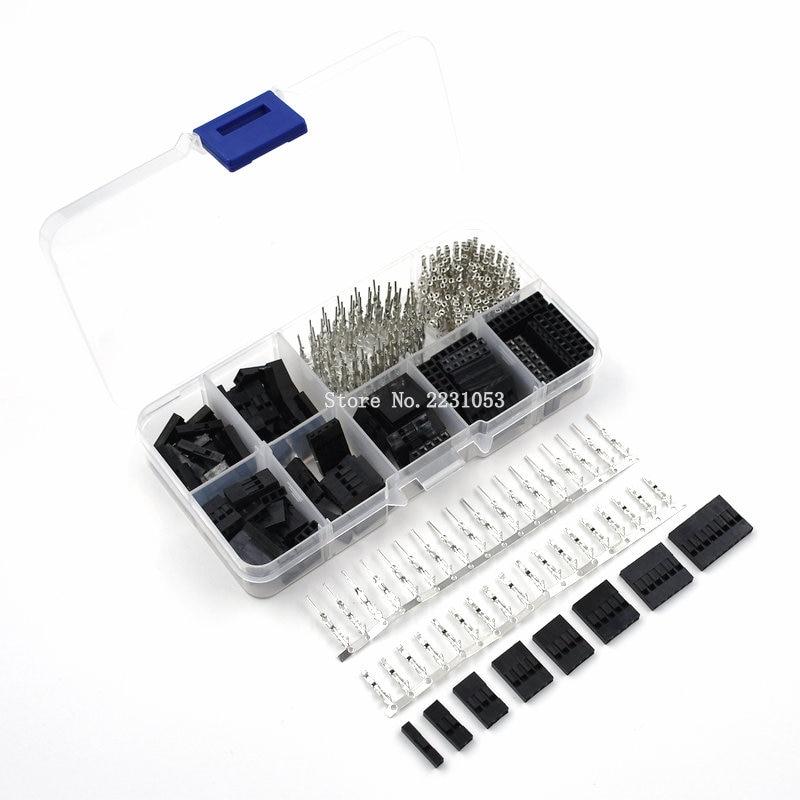 310 pçs/set dupont fio jumper pino encabeçamento conector habitação kit macho pinos de friso + fêmea pino conector terminal passo com caixa