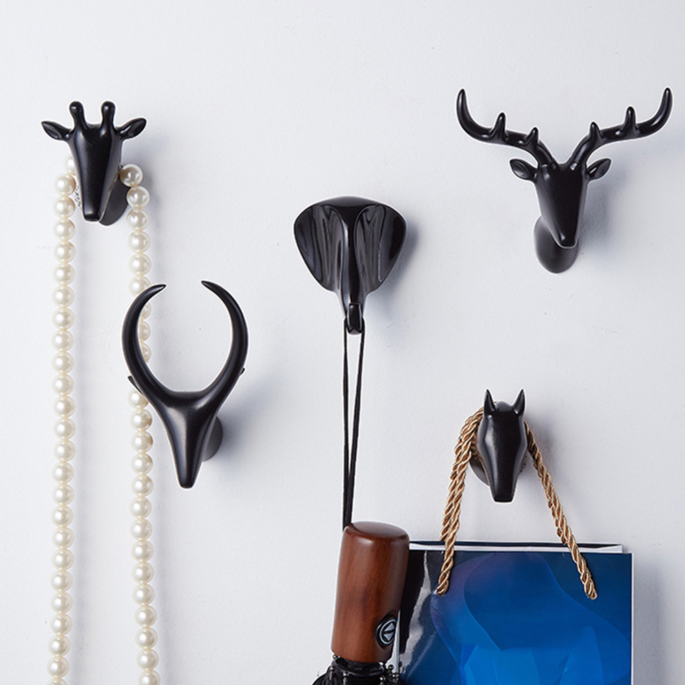 Creative Self Adhesive Hook Wall Animal Head Hook For Hanging Clothes Hat Scarf Key Deer Horns Hanger Rack Wall Decoration