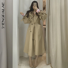 SHENGPALAE-Trench Coat Slim, manches coupe-vent, col rabattu, bretelles amples, taille, mi-long, automne 2020