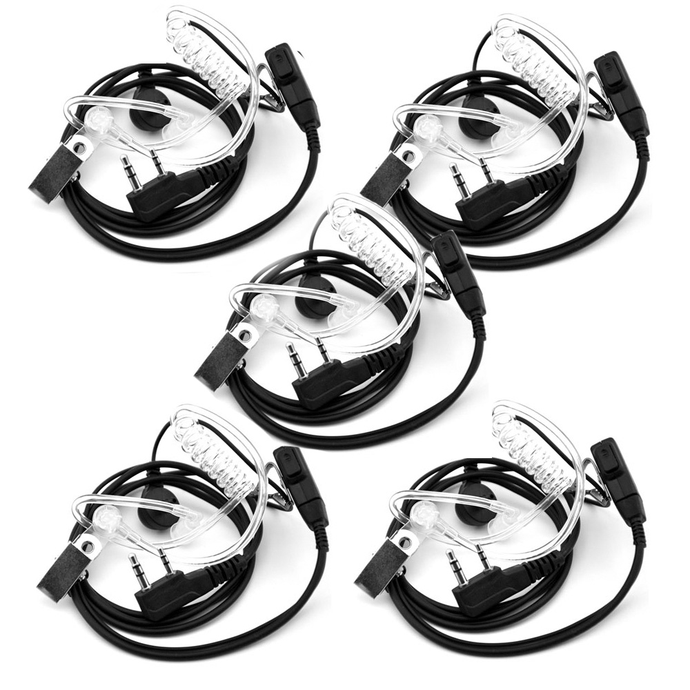 5PCS Air Acoustic Tube Headset For Walkie Talkie Baofeng Radio K Port Earphone PTT With Microphone For UV-5R 888s Guard Earbuds