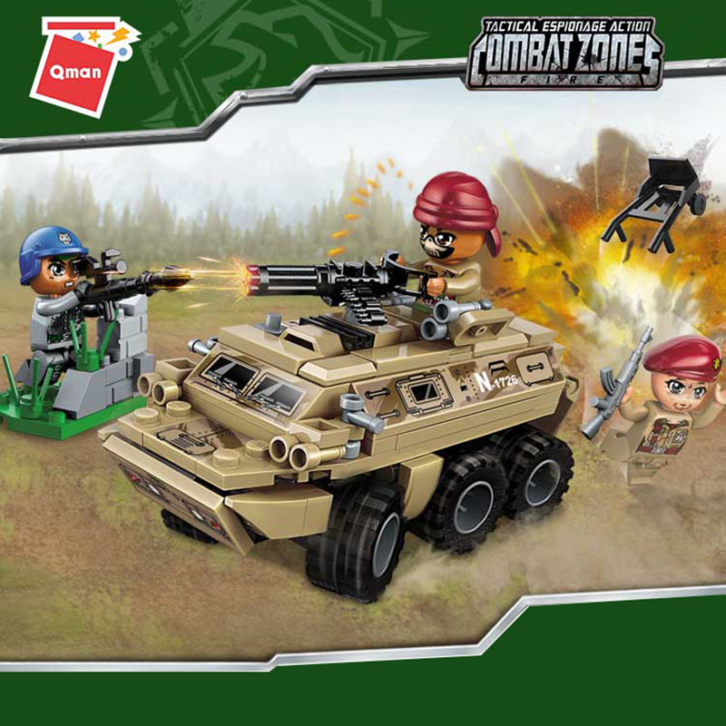 Qman Military Special Forces Soldiers Ambush Armored Car Bricks Figures Armed Compatible Building Blocks Toys For Kids