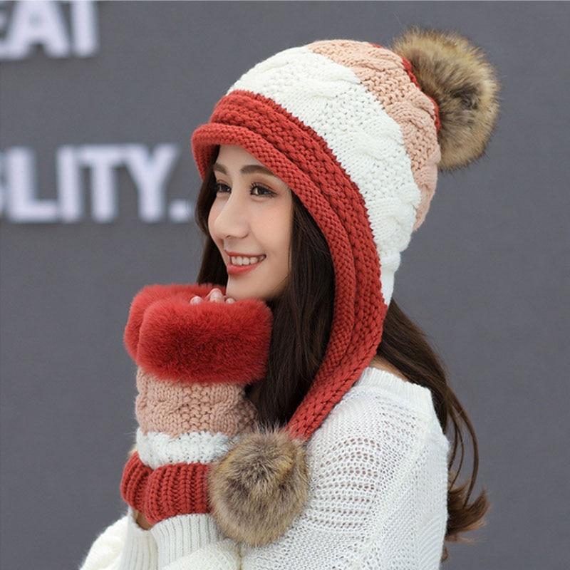 Calymel 2019 Women Beanies Wool Ball Winter Hat Keep Warming Acrylic шапка женская Bonnet Fashion Knitted Cap Ears Protector 32