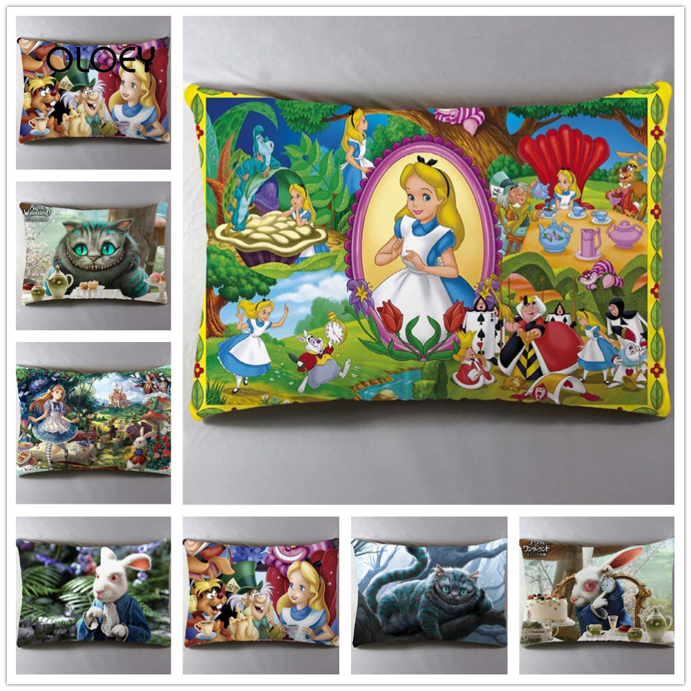 Alice Anime Wonderland Polyester Pillowcase Home Bedroom Hotel Car Seat Decoration Pillowcase Wedding Personality Gift 30x50cm .