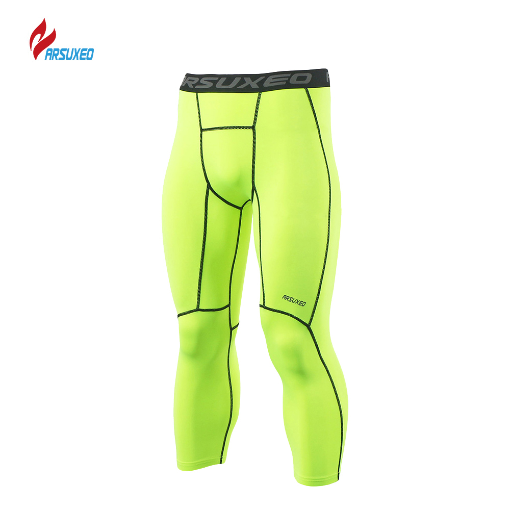 ARSUXEO Men's Sports Compression Tights Running Tights Run Fitness Active Training Exercise Pants Compression Pants 3/4