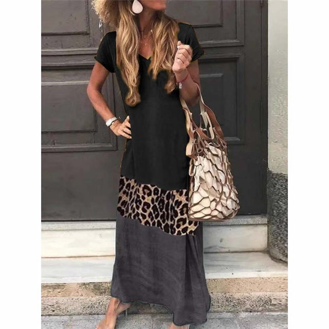 NEDEINS Summer Beach Print Long Dress Women Leopard Boho V-neck Short Sleeve Dress Plus Size Dresses for Woman 4xl 5xl 4