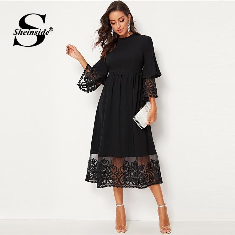 Sheinside Elegant Embroidered Mesh Pleated Dress Women 2019 Autumn 3/4 Sleeve Midi Dresses Ladies Layered Flounce Sleeve Dress
