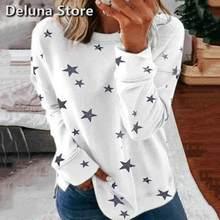 T-Shirt da donna primavera allentata moda Casual pullover a maniche lunghe abbigliamento donna stampa stella o-collo morbida T-Shirt accogliente donna