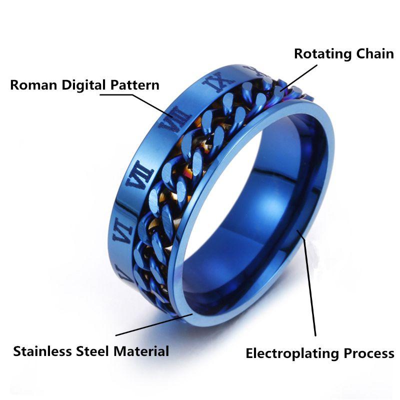 Finger Fidget Chain Spinner Rotatable-Ring EDC Digital Gift Power-Sense Classical Stainless-Steel img3