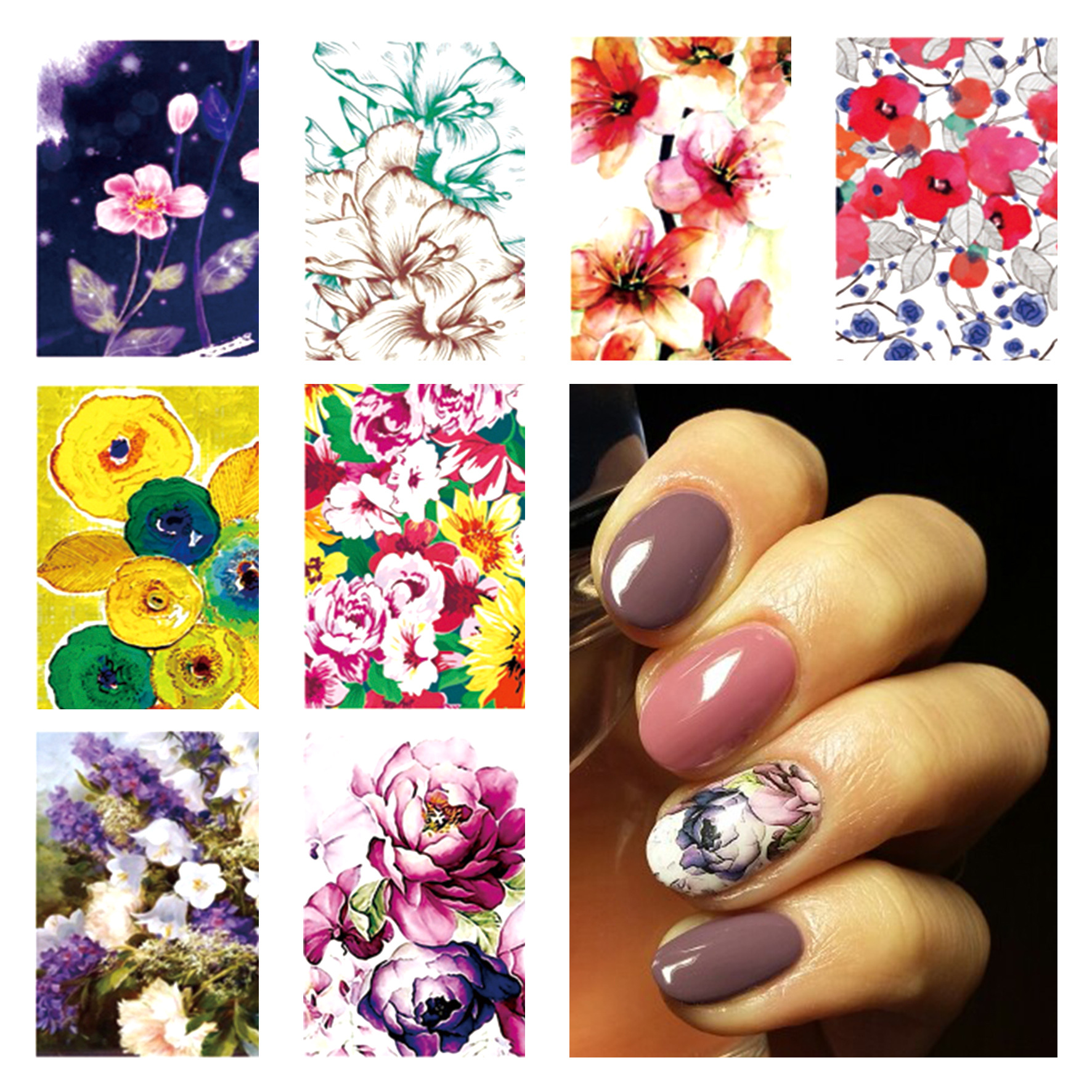 Yzwle Nail Sticker AliExpress Amazon Foreign Trade Hot Selling Water Transfer Manicure Flower Stickers Thousand-Summary