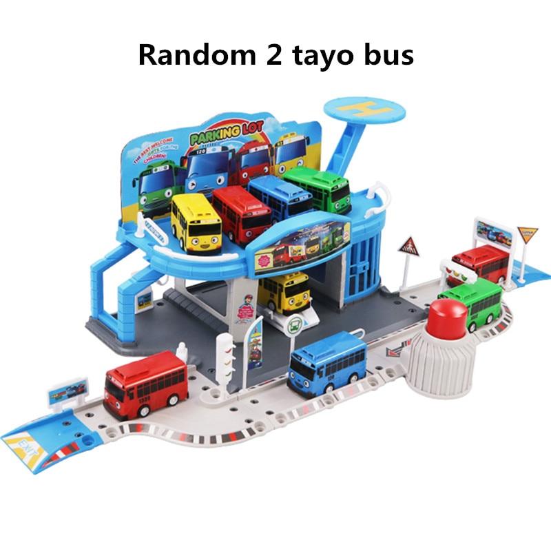 Корейские мультяшные рисунки Tayo, набор маленьких автобусов, собранная автобусная станция, стоянка, модельная модель автомобиля с 2 мини-авт...