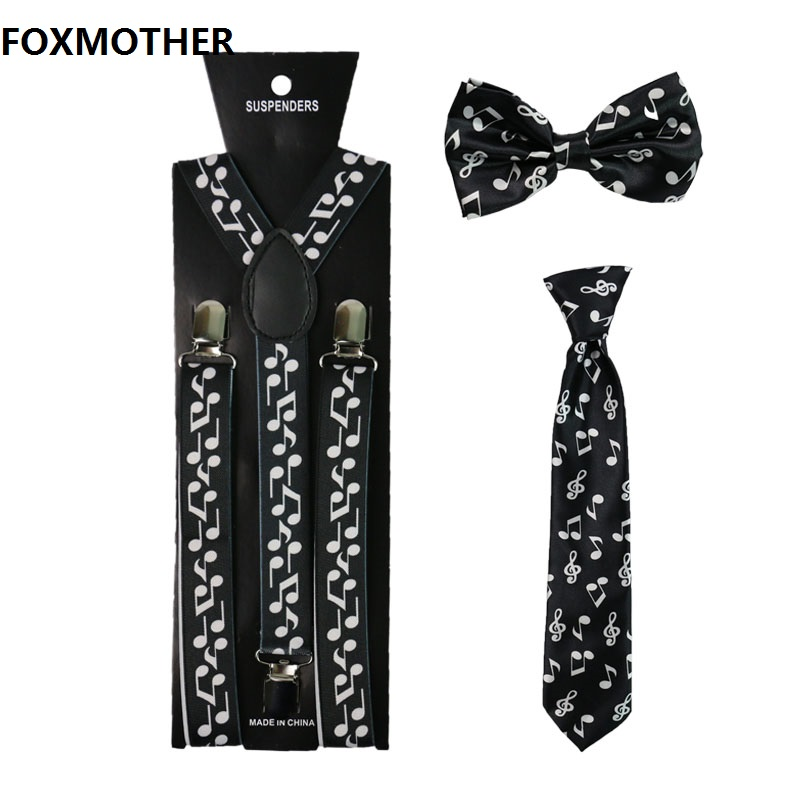 FOXMOTHER Music Note Women Men Suspenders Bowtie And Necktie Set