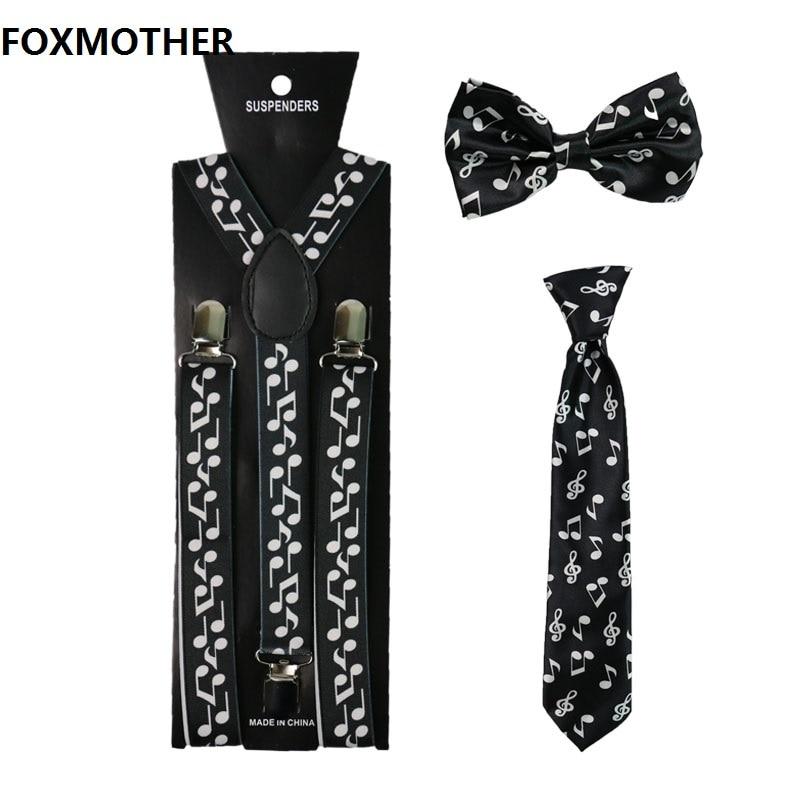 FOXMOTHER Music Note Women Men Suspenders Bowtie And Necktie Set