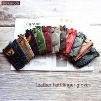 Guantes de cuero de medio dedo para mujer, a la moda, para conducción, de una sola capa, sin forro, cortos, para motociclismo