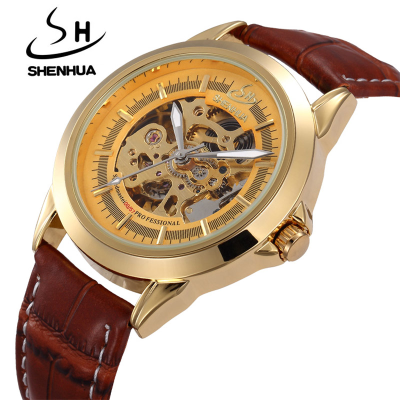 Top Luxury Brand Mechanical Watches SHENHUA Gold Automatic Machinery Watches For Men Skeleton Mechanical Wrist Watch Waterproof