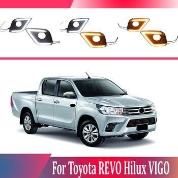 2pcs For Toyota REVO Hilux VIGO 2015-2016 LED Daytime Driving Running Light DRL Car Fog Lamp 6000K White Light Turn Yellow Light