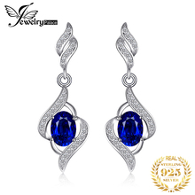 Christmas Gift Vintage For Women Fashion Fine 2.5 Blue Sapphire Drop Earrings Dangle Genuine Real Solid Pure 925 Sterling Silver 925 pure silver christmas bells silver pendants