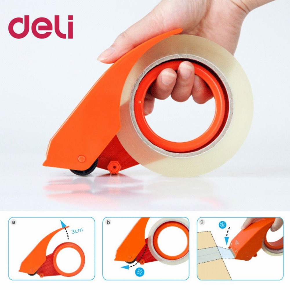 Deli 801 Tape Dispenser Manual Sealing Device Tape Cutter Baler Carton Sealer Width 48mm Packager Cutting Machine  DropShipping