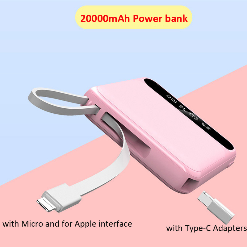 Power Bank 20000mAh Portable External Battery Bank for iPhone X 8 Plus Samsung Note 10 plus Xiaomi Power Bank with IOS USB Cable Power Bank     - title=