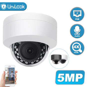 UniLook 5MP Dome POE IP Camera Support 4X Zoom Outdoor Security CCTV Camera Built in Microphone Weatherproof IP66 ONVIF H.265 5mp bullet poe ip camera built in microphone sd card slot cctv security cctv camera ip66 night vision h 265 onvif p2p