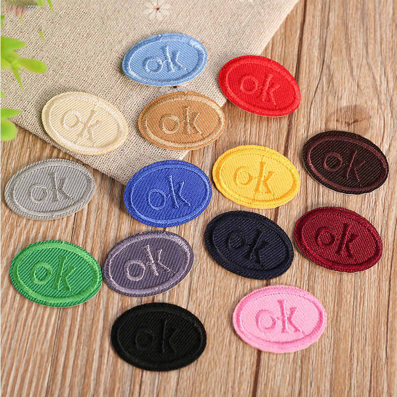 "Multicolor ""OK"" Oval Heat Transfers Iron On Patches for Clothing DIY Clothes Stickers Decorative Appliques Embroidery Patch"
