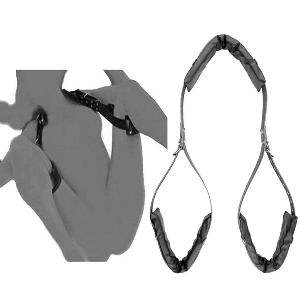 Adult Bondage Sex PU Handcuffs Leg Open Restraints Neck M Shape Open Leg Straps Erotic Sex Tool Set